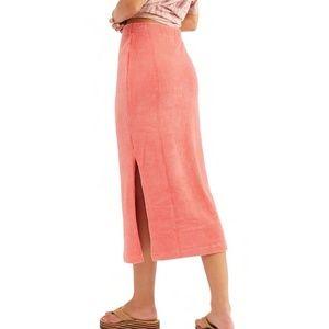 Free People Helen Ribbed Tube Midi Skirt In Rose